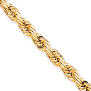 Men's 8mm 10k Yellow Gold Diamond Cut Solid Rope Chain Necklace, 24in
