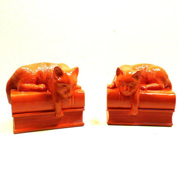 coral cat bookends, bookend, home accessories, cat decor, tangerine, orange, bookend set, home decor, cozy