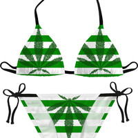 Sexy 420 themed bikini set, striped green and white girls swimwear, ganja leafs, lines