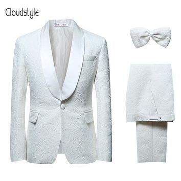 Cloudstyle 2018 New Men's Suits Formal White Wedding Groom Tuxedo Classic Prom Designer Slim Fit Plus Size 6XL