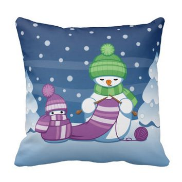Crafty Snowman Knitting Scarf Throw Pillow
