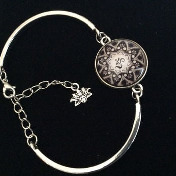 Om Mandala Design Domed Charm on a Silver Adjustable Cuff Bracelet Trendy Gift Yoga Inspired Meditation