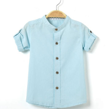 2016 summer new  style baby boys long sleeve shirts infant  school  clothes kids cotton linen clothing teenagers top clothing