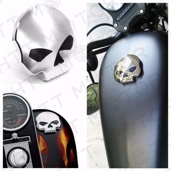 Aftermarket free shipping motorcycle parts Chrome Skull Gas Cap Vented Fuel Cap for Harley XL & Big Twin Gas Tank Cap 84-15