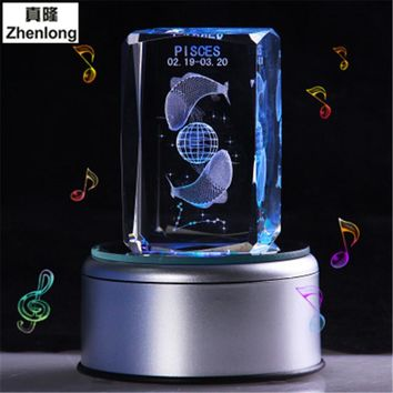 Pisces 3D Crystal Ball Pokemon Go Glass Ball Home Decoration Lamp LED Colorful Rotate Base Music Box Art Furnishing Articles