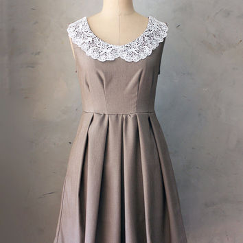 AUTUMN IN MOCHA - Vintage inspired tan brown dress with lace portrait collar // pleated skirt // house dress // bridesmaid // shabby chic