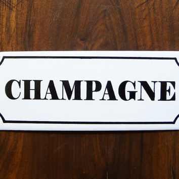 champagne french wine enameled plaque, antique label, french atmosphere, french retro home decor,