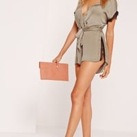 Missguided - Eyelash Lace Trim Silky Wrap Playsuit Nude