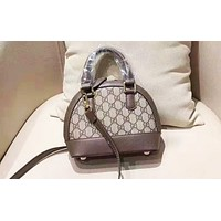 Gucci hot seller of casual printed Mosaic shopping bag with fashionable lady shoulder bag Khaki +Dark coffee