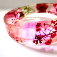 Floral Resin Bangle. Red Rose and Flower Frosted Bracelet: Roxy Red