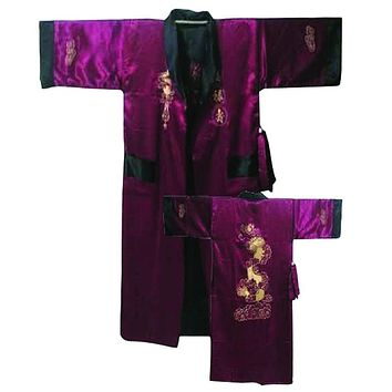 Hot Chinese Men's Silk Satin Reversible Robe Gown Two-Sided Nightwear Vintage Male Embroidery Dragon Kimono Robe One Size 011005