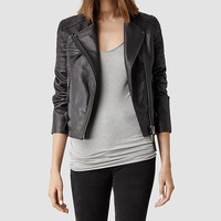 Womens Dorsey Leather Biker Jacket (Slate) | ALLSAINTS.com