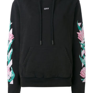 Off-White Floral Hooded Sweatshirt - Farfetch