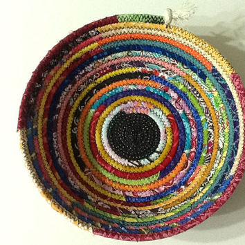 Small Multi Colored Coiled Rope Bowl, Fabric Bowl, Organizer Basket, Catchall Basket, Quiltsy Handmade