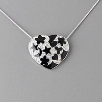 Black Enamel Pave Swarovski Crystal Heart Pendant Silver Snake Chain Necklace