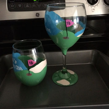 Golf Hole in One Wine Glass with Flag and Personalization