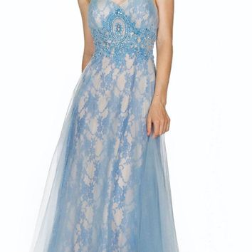 Appliqued Strapless Long Prom Dress Ice Blue