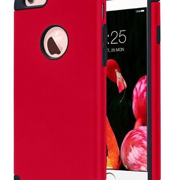 DCCKRQ5 iPhone 6S Case,iPhone 6 Case, ULAK Slim Dual Layer Soft Silicone & Hard Back Cover Bumper Protective Shock-Absorption & Skid-proof Anti-Scratch Hybrid Case for Apple iPhone 6 / 6S 4.7 inch-Red/Black