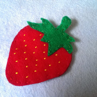 Handmade Felt Strawberry Brooch, Hairclip, or Barrette