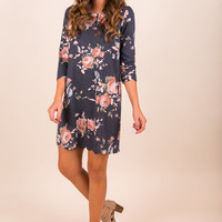 Affectionate Florals Dress, Navy