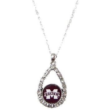 Mississippi State Bulldogs Teardrop Clear Crystal Silver Necklace