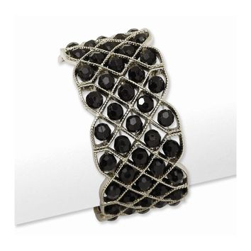 Silver-tone Black Crystal Stretch Bracelet