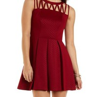 Pleated Strappy Skater Dress by Charlotte Russe - Wine