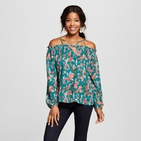 Women's Floral Print Off the Shoulder Long Sleeve Strappy Top - Xhilaration™ Jade