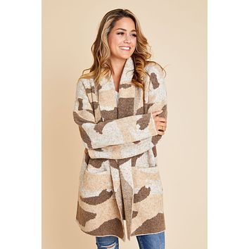 RD Style Camo Cardigan Sweater Coat