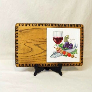 Vintage Cheese Board-Tile Trivet-Faux Wood-Fish-Wine-Kabobs-Grapes-Retro Entertaining-Serving Snack Tray--Orphaned Treasure-040317F