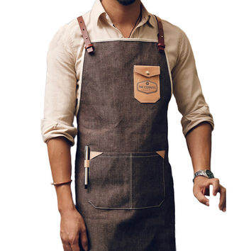 Leather Strap Custom Denim Apron for Barbershop Hairdresser Kitchen Men