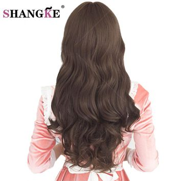 SHANGKE 26'' Long Synthetic Wigs for Black Women  Long Brown Hair Wigs For African Americans wavy Heat Resistant Fake Hairpieces