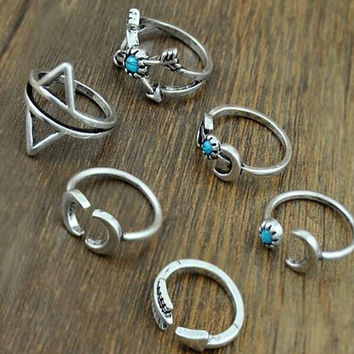 Vintage Silver Arrow Moon Turquoise Joint Knuckle Nail Midi Ring Set of 6 Rings