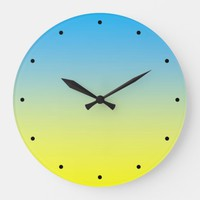 Yellow And Blue Two Tone Large Clock