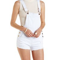 White Crisscross-Back Destroyed Denim Shortalls by Charlotte Russe
