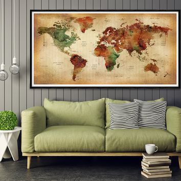 Personalized World Map   World Map   Push Pin World Map   Office World Map   Gift for Him   Wedding Anniversary Gift  House Warming Gift