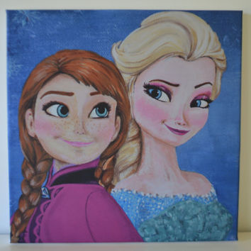 "12X12 ""Frozen"" Canvas Print of my original ""Frozen"" inspired Elsa and Anna painting."