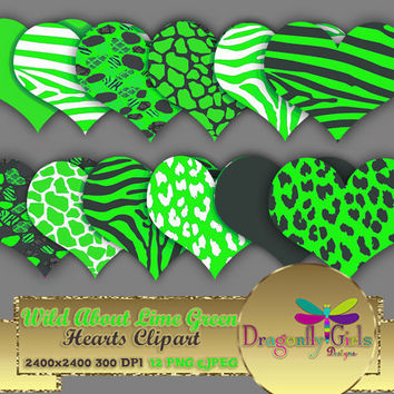"80% OFF Sale WILD About Lime Green Hearts 8"" clipart, commercial use, digital scrapbook papers, vector graphics, printable, Instant Download"