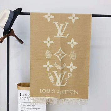 LV autumn and winter new jacquard classic letter logo female models knitted cashmere scarf