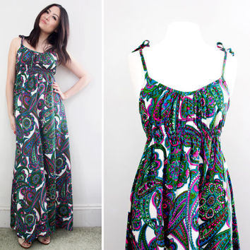 Vintage 70s Fashion Paisley Print Dress - Summer Maxi Dresses - Size Small to Medium