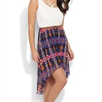 tribal lace tank strap bodice belt tribal print chiffon high low