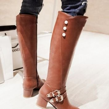 New Brown Round Toe Chunky Pearl Fashion Knee-High Boots