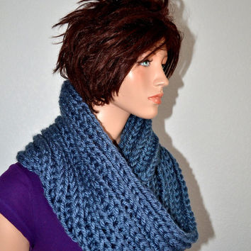 Infinity Cowl/ Unisex Knitted Cowl Washington Denim