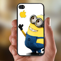Cute Despicable Me Minions With Apple   - Photo Print for iPhone 4/4s Case or iPhone 5 Case - Black or White