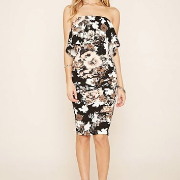 Strapless Floral Bodycon Dress | Forever 21 - 2000220550