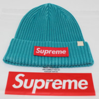 Supreme male and female striped letter knit winter warm street dance skateboard cap Lake blue