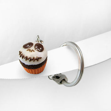 Halloween Keychain, Skull Cupcake Charm, Glow in the dark, Nightmare before Christmas inspired, Halloween gift, Polymer Clay Mini Food