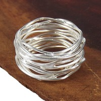 Modern Wavy Wire Mesh Band .925 Sterling Silver Ring (Thailand)