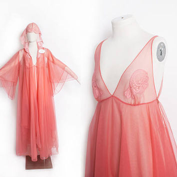 Vintage 1960s HOODED Nightgown Set - UNworn Peach Pink Nylon Chiffon Sheer Lace Smocked Slip Lingerie - Small / Medium