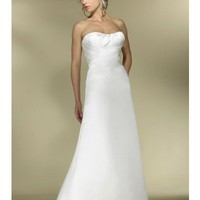 Prima Satin A-line Gown with Criss-Cross Sweep Train Crystal Beading YSPWD0037 - Wedding Dresses - Wedding Apparel